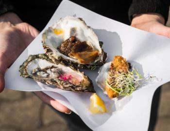 plate with oyster appetizers